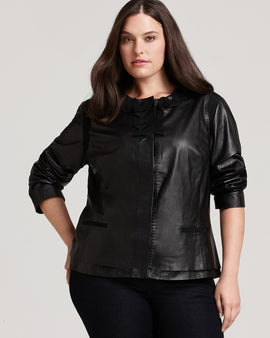 Light Black plus size leather jacket