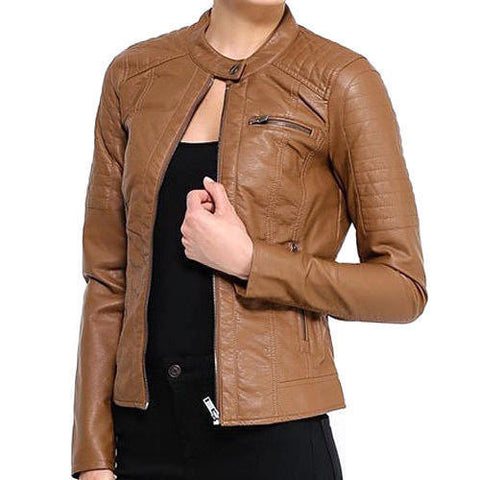 Fashionable Light Brown Leather Jacket for Women