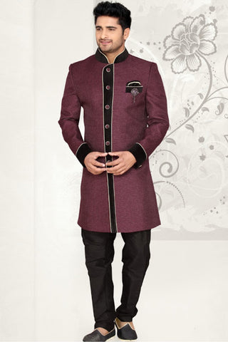 Luxury Wine Color Sherwanis