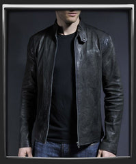 MEN LEATHER JACKET, BLACK