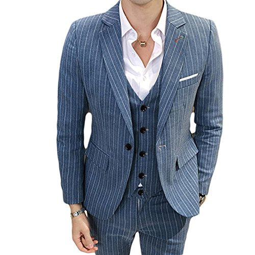 Male 3 Pieces Suit Pinstripe