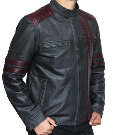 Men Burgundy Black Cafe Racer Stripe Wine Colored Leather Jacket