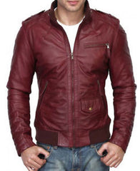 Men Maroon Color Slim Fit Leather Jacket