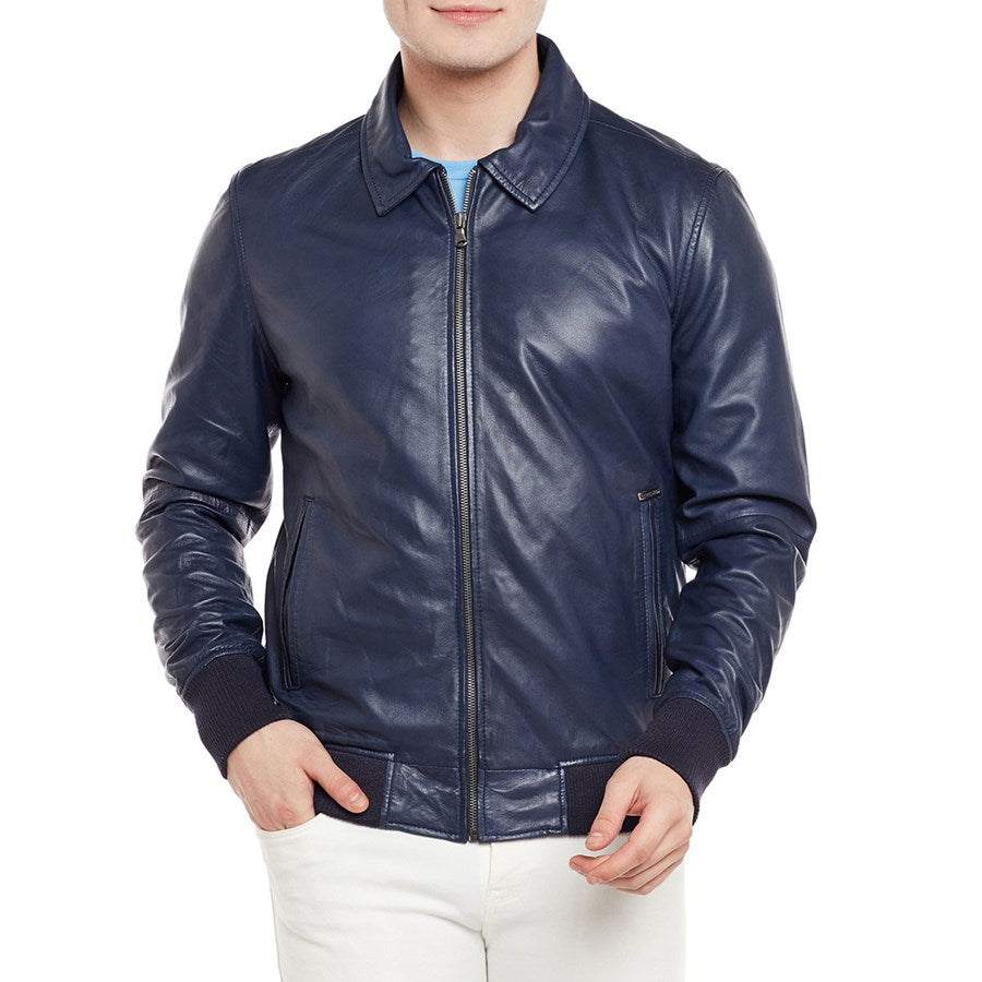Men Navy Color Leather Jacket for men