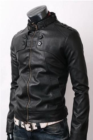 Men Stylish Slim Black Leather Jacket