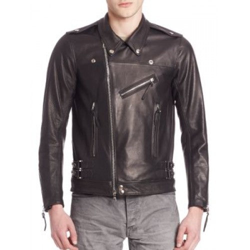 Men black Italian Leather Jacket