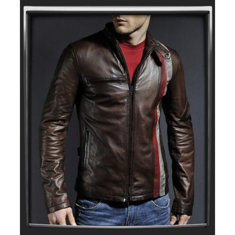 Stylish Men brown motorcycle leather jacket