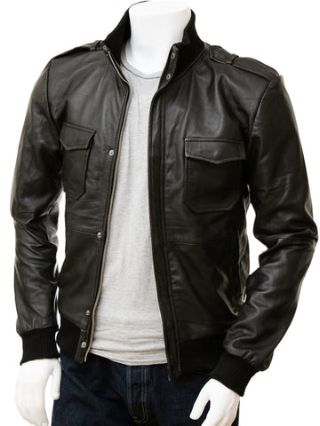 Men  Smart  Black Bomber Leather Jacket