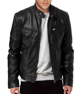Men's  Black  Leather Biker Jacket-2