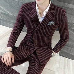 Mens 3 Piece Pinstripe Suit - Burgundy