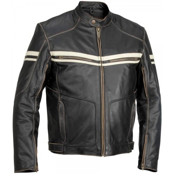 Mens 6 Pocket Bikers Vintage Leather Jacket