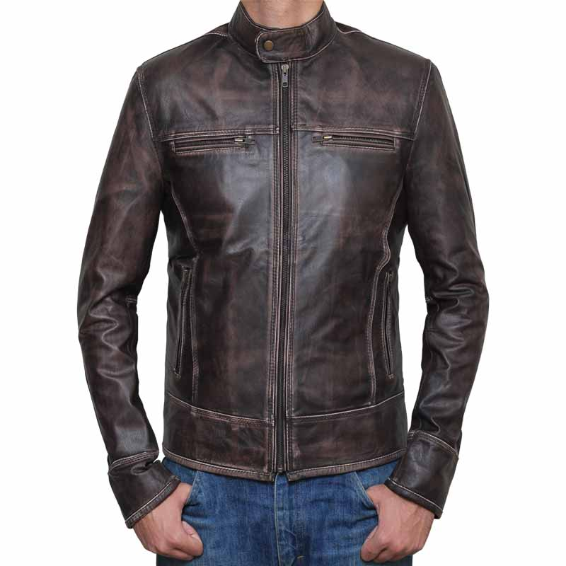 Mens Brown Motorcycle Jacket Biker Leather Jacket