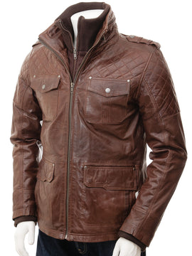 Men Leather Jacket in Brown