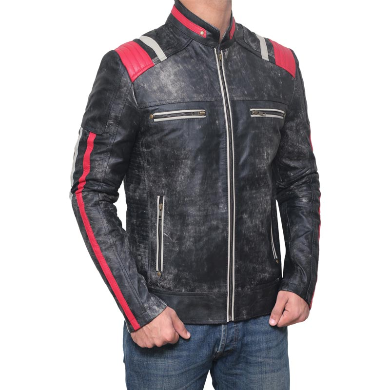 Mens Motorcycle Red and Black Leather Jacket Biker Jacket
