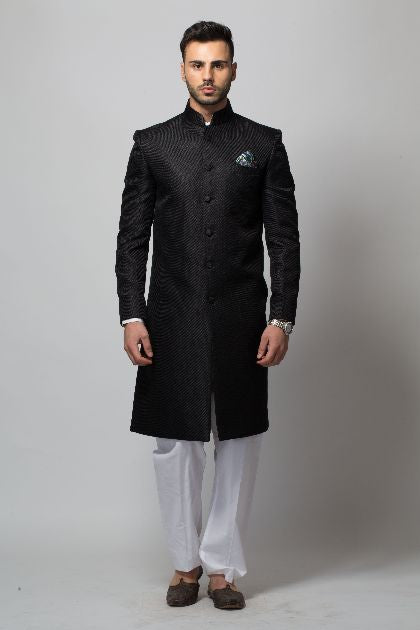 Modern Black Sherwani For Men