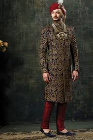 Navy-Blue Indian Sherwani