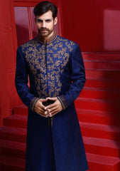 Navy-Blue Pakistani Sherwani