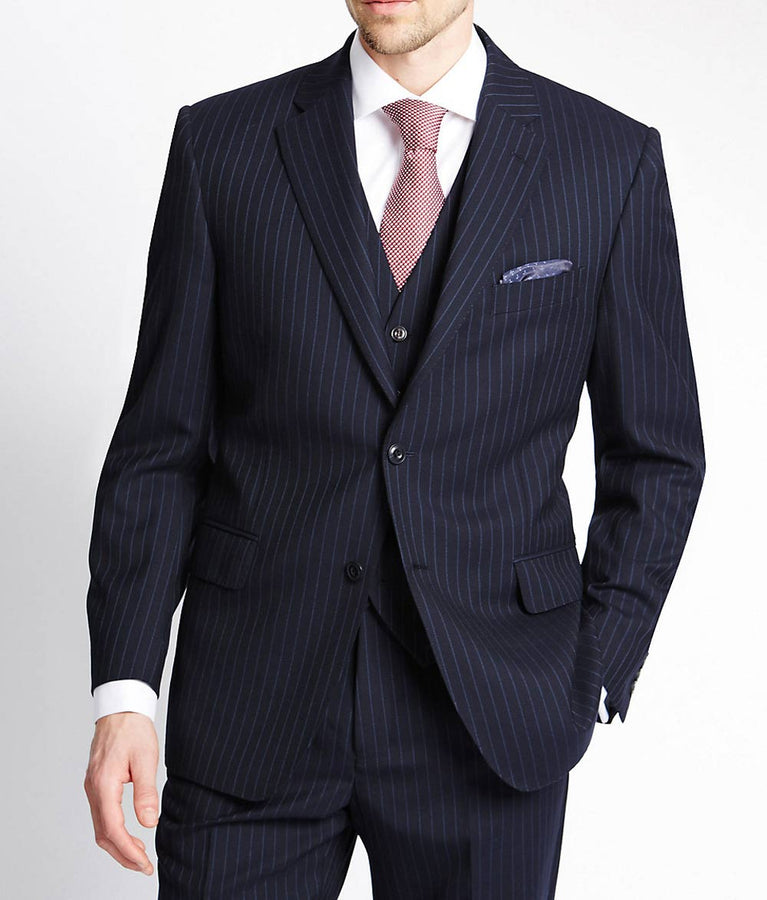 Navy Blue Pinstripe Suit In 3 Piece
