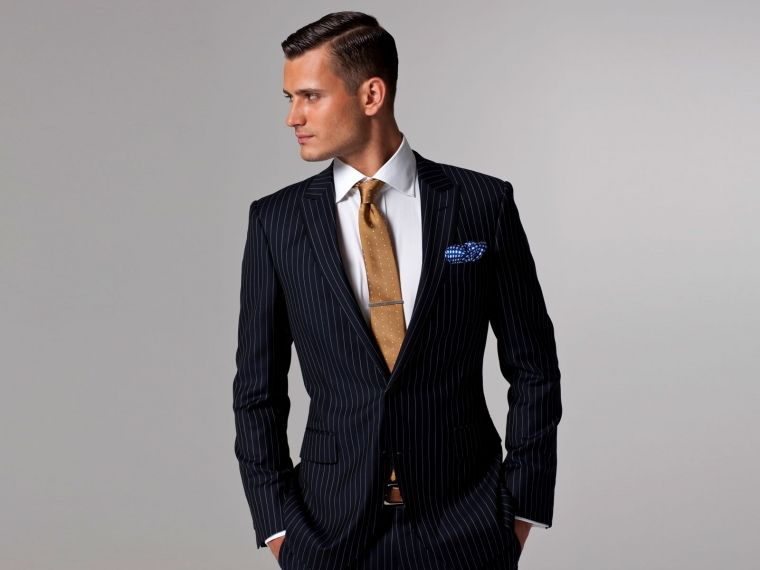 Navy Blue and White Pinstripe suit