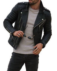 New-Men leather-Motorcycle Jacket