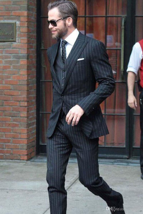 New Arrival Black Pinstripe Wedding Suit