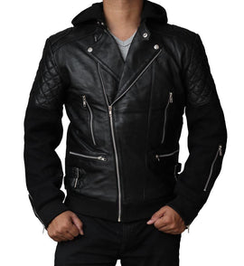 New Men Chris Brown Bomber Black Leather Slim Fit Biker Jack