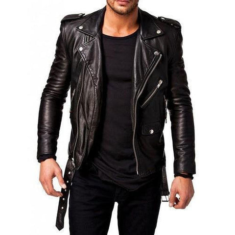 Smart men-leather-motorcycle-jacket