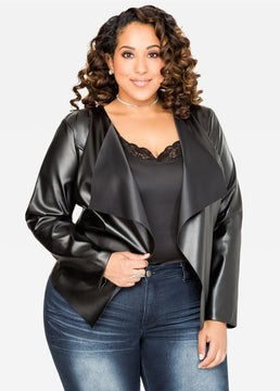 Open Front  Leather Jacket, Black