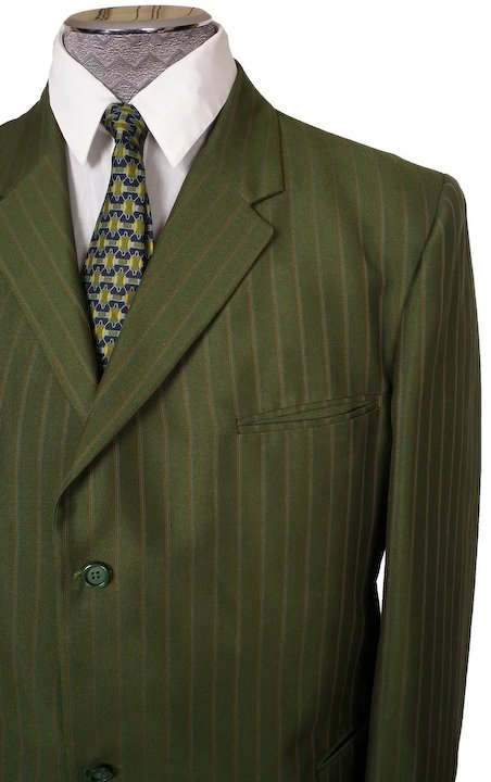 Pinstripe Green Suit for Men