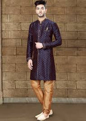 Ready made dark blue Indian Sherwani