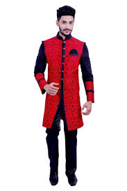 Stunning Red and Black Sherwani For Men
