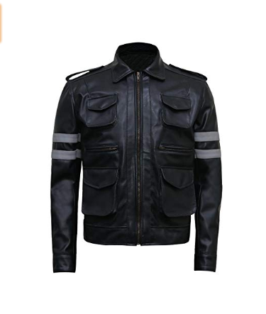 Resident Grey Stripe Shiny Black Shirt Collar Boys Lamb Leather Jacket