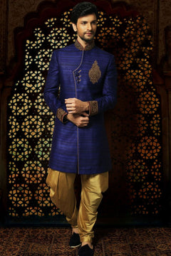 Royal Blue & Golden Sherwani For Men