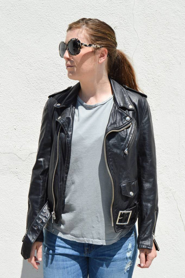 Short Leather Motorcycle Jacket for women
