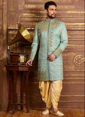 Sky-Blue Royal Indian Sherwani
