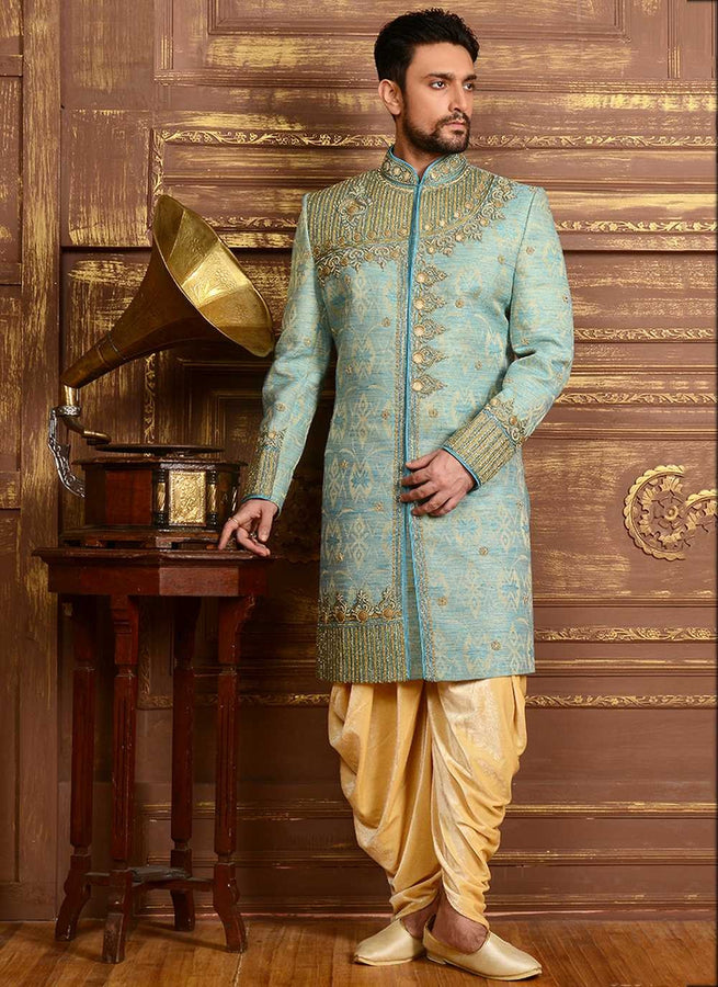Sky Blue Wedding Sherwani