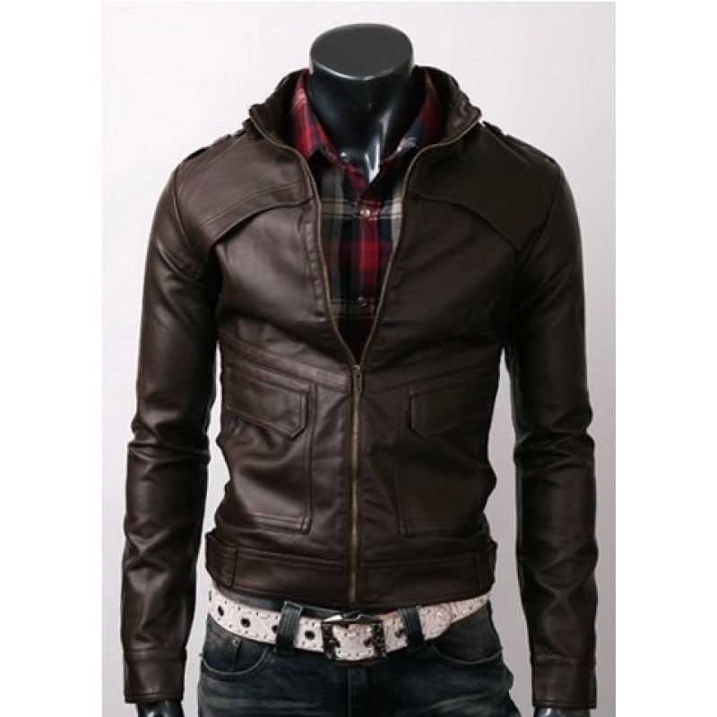 Slim-fit Strap Pocket Leather Jacket