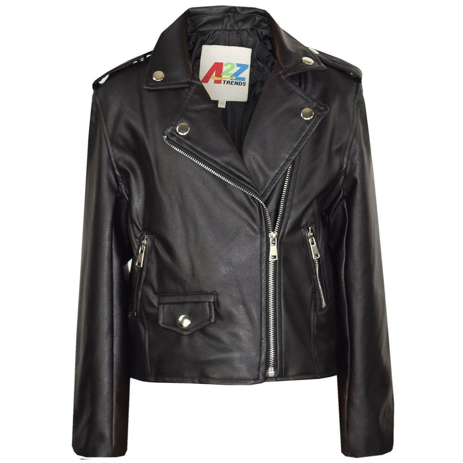 Smart Black Leather Jacket For Kids