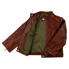 Smart Brown Leather Jacket For Kids