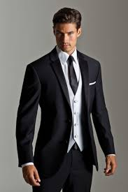 Solid black suit for men