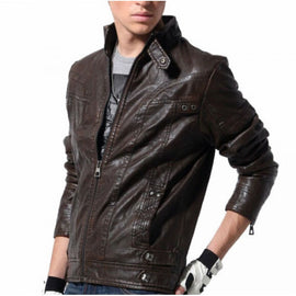 Stand Collar Black Full Sleeves Leather Biker Jacket for Men