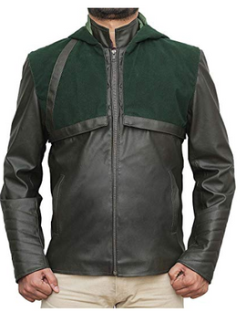 Stephen Amell Hooded Leather Jacket