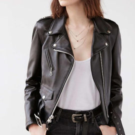 Stylish Leather Motorcycle Jacket for women