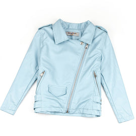 Stylish Sky Blue Leather Jacket For Kids