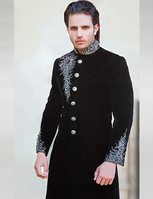 Stylish Black Pakistani Sherwani