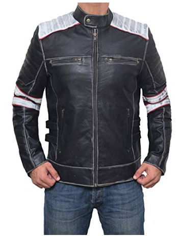 Terrance Black and White Stripe Padded Front Zipper Men Moto Leather Jacket