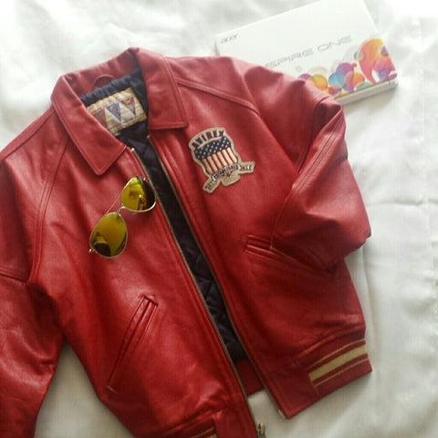 Trendy Red Leather Jacket For Men