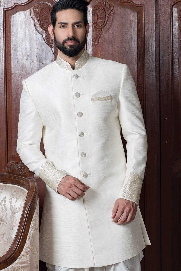 Trendy White Sherwani For Men