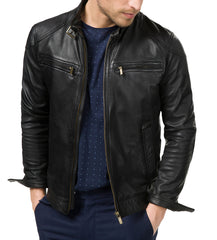 Unusual Black leather jacket