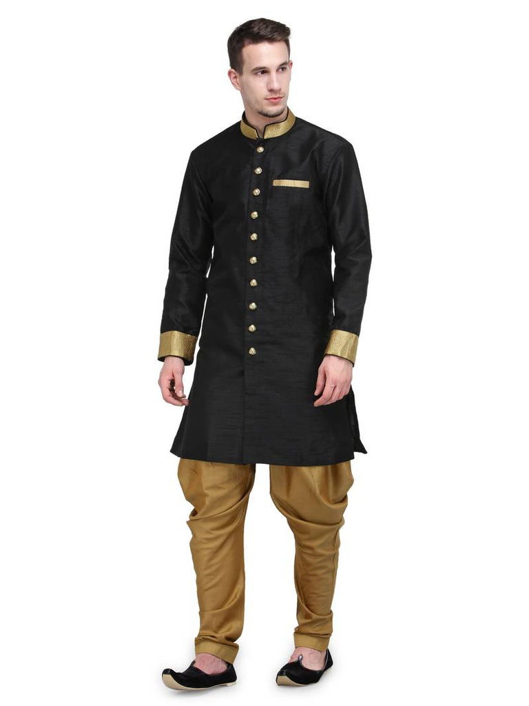 Unusual black sherwani for men
